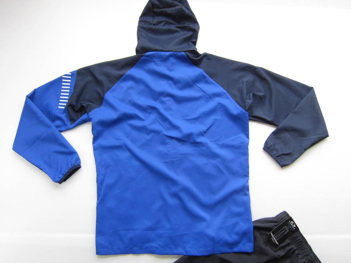 新品◆オークリーOAKLEY トレーニング パーカー & ロング パンツ L 高吸汗 速乾素材 上下セット 青ブルー ネイビー×黒 検/ ジャケット M_画像7