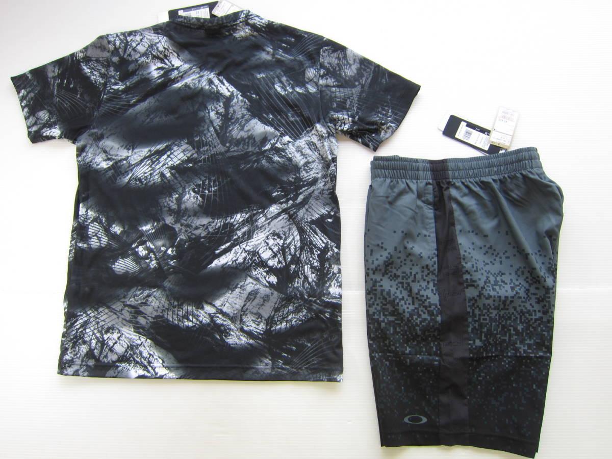 新品◆オークリーOAKLEY 半袖シャツ & ショート パンツ L 黒&グレー 迷彩 Tシャツ ウェア 検/ ロング ジャージ M ナイロン_画像7