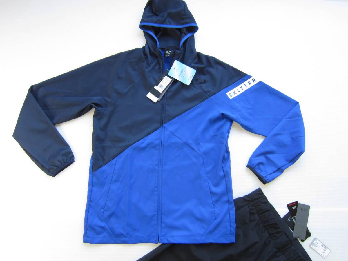 新品◆オークリーOAKLEY トレーニング ジャケット & ロング パンツ M 吸汗速乾ウェア トレーニング 上下セット ブルー 黒 検/ パーカーL_画像2