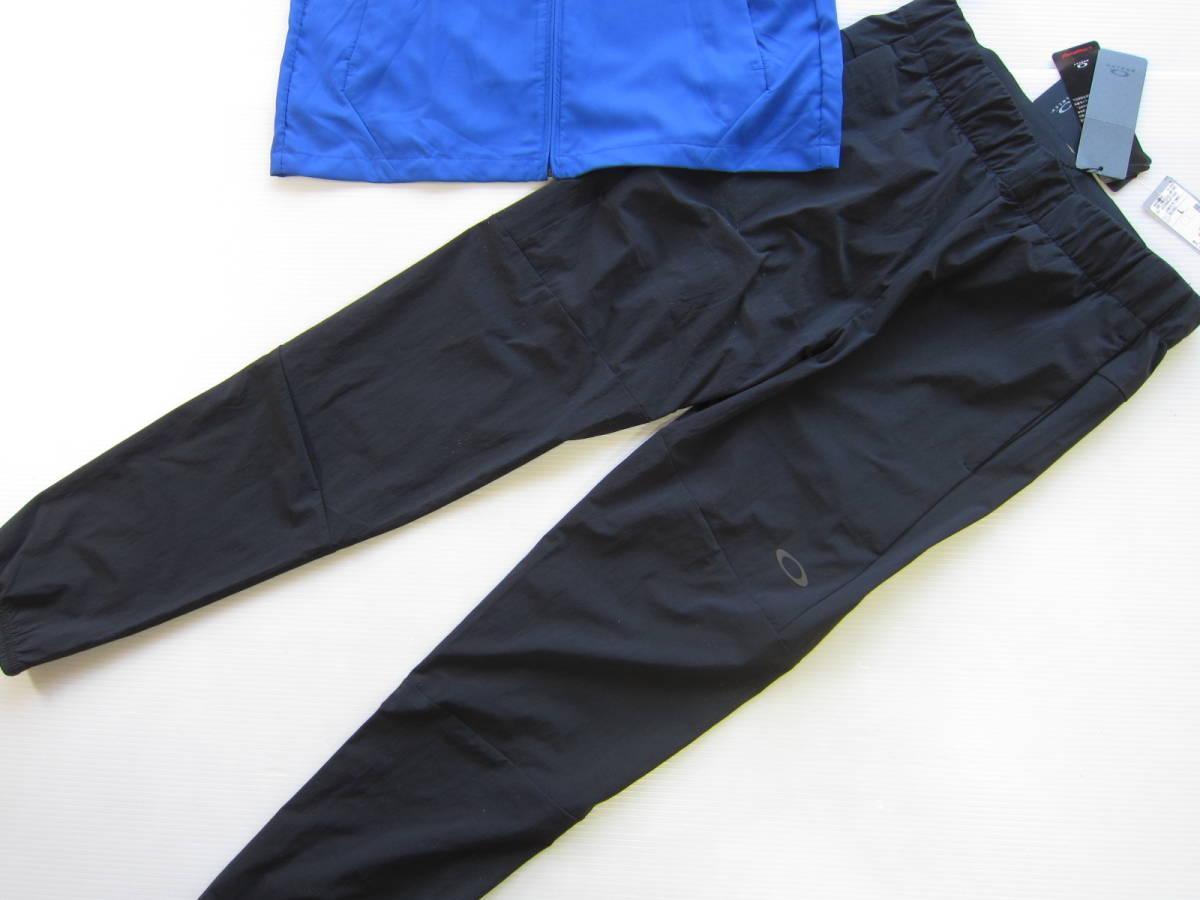 新品◆オークリーOAKLEY トレーニング ジャケット & ロング パンツ M 吸汗速乾ウェア トレーニング 上下セット ブルー 黒 検/ パーカーL_画像7