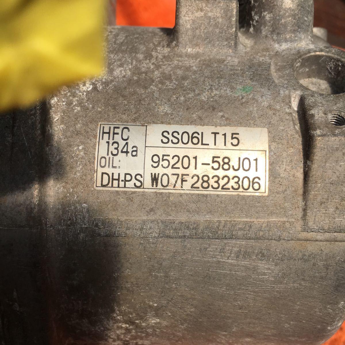 送料込み!ワゴンR MH22S エアコンコンプレッサー SS06LT15 95201-58J01_画像6
