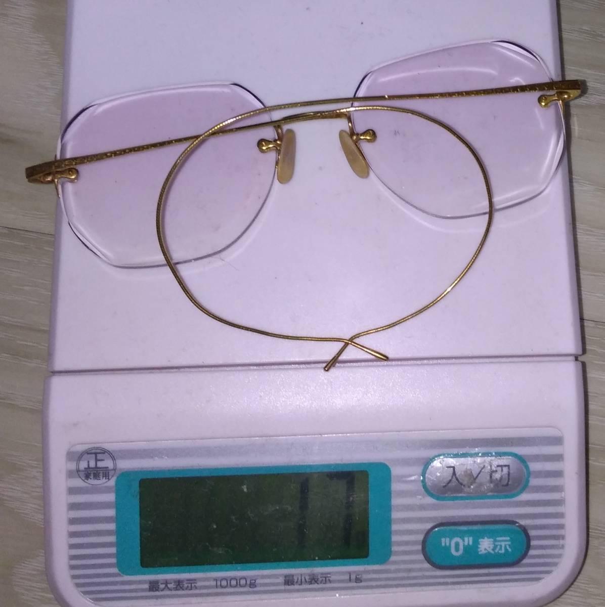 K18 無垢 メガネフレーム 18金 刻印 めがね 眼鏡 復古_画像8