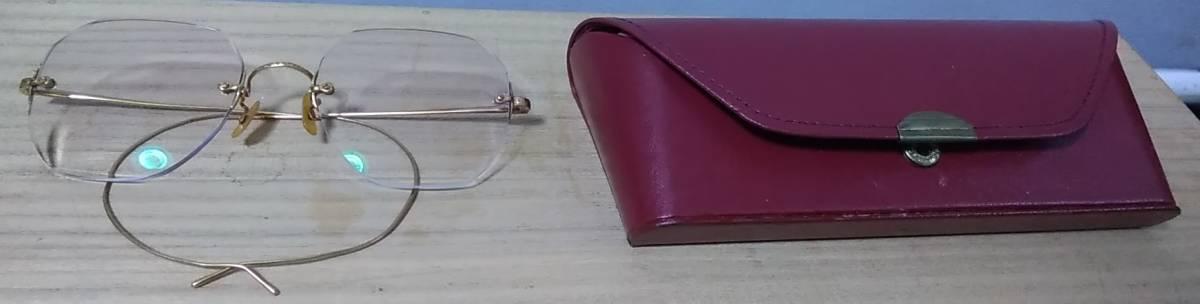 K18 無垢 メガネフレーム 18金 刻印 めがね 眼鏡 復古_画像1