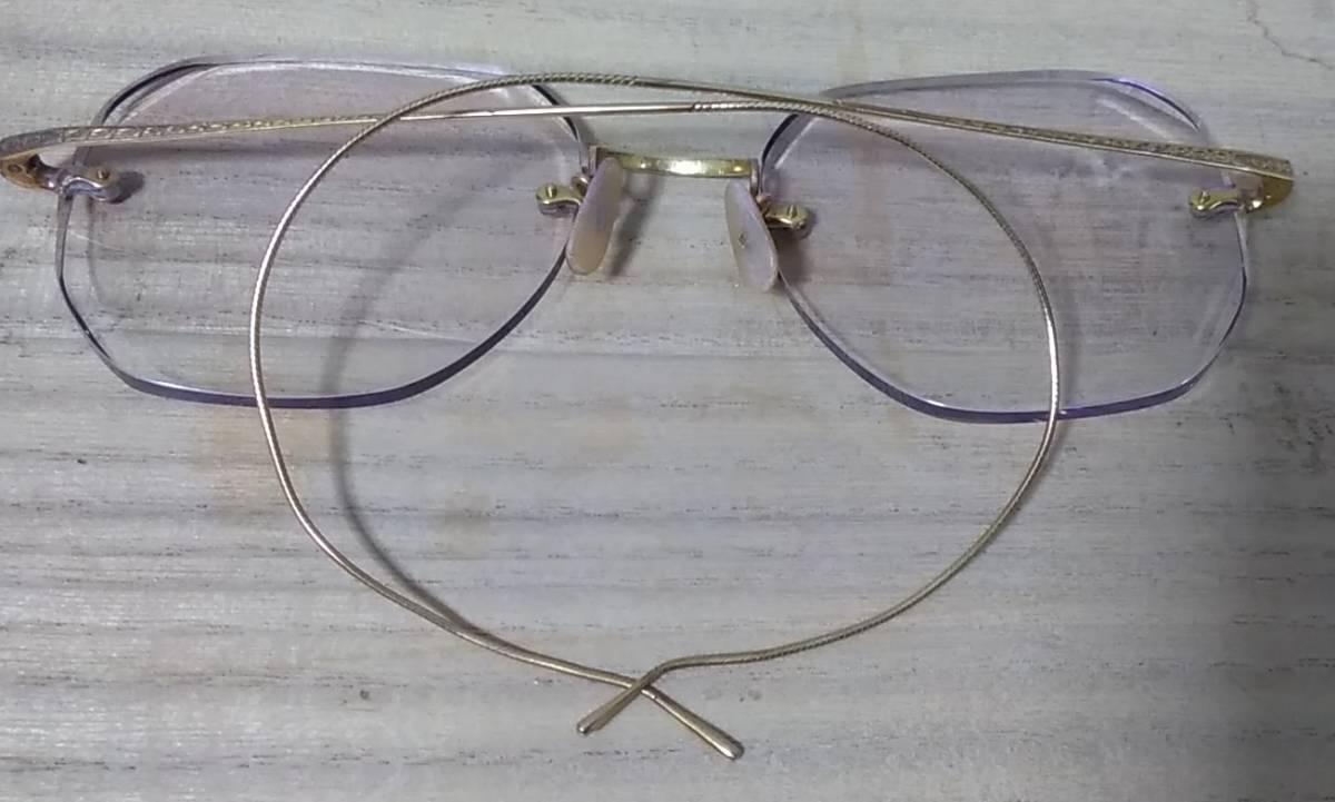 K18 無垢 メガネフレーム 18金 刻印 めがね 眼鏡 復古_画像4