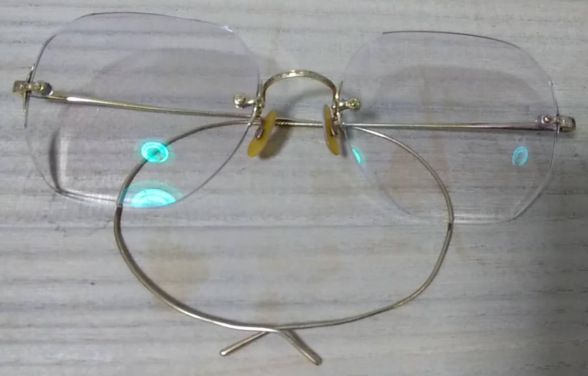 K18 無垢 メガネフレーム 18金 刻印 めがね 眼鏡 復古_画像2