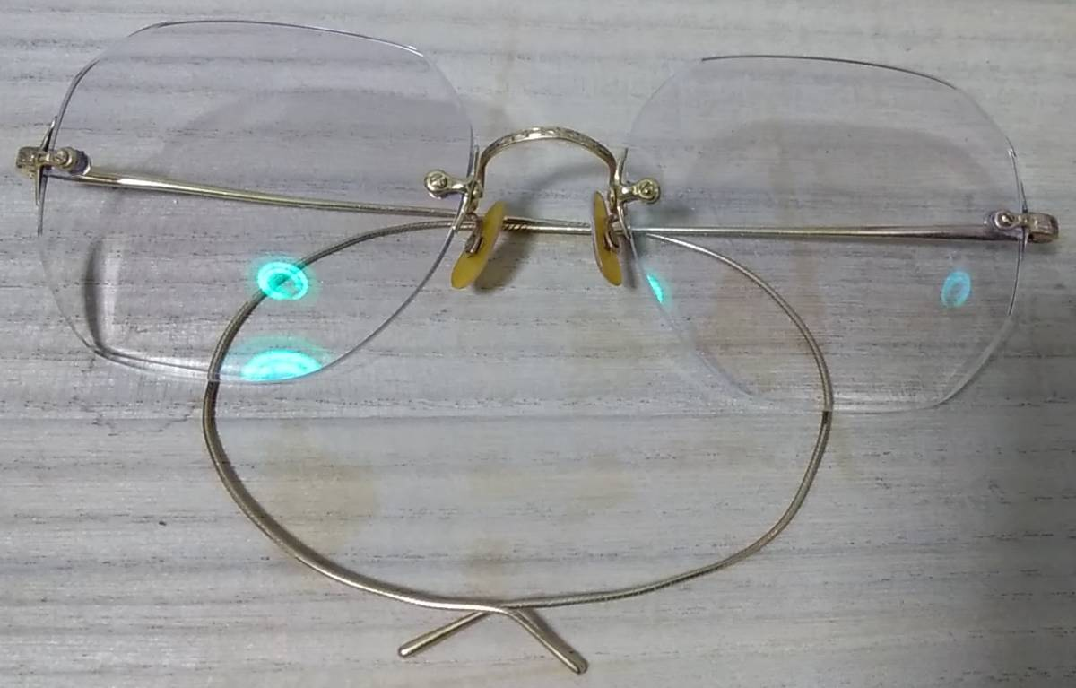 K18 無垢 メガネフレーム 18金 刻印 めがね 眼鏡 復古_画像3