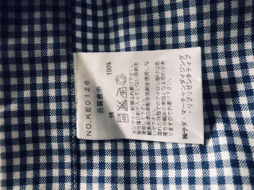 【美品】Maker's shirt 鎌倉シャツ サックス チェック ホリゾンタル カッタウェイカラードレスシャツ 39/87_画像8