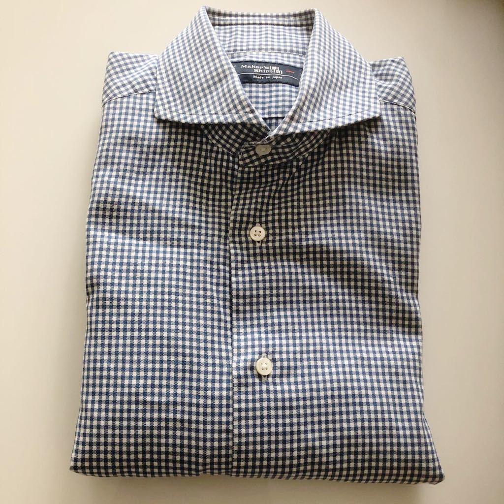 【美品】Maker's shirt 鎌倉シャツ サックス チェック ホリゾンタル カッタウェイカラードレスシャツ 39/87_画像9