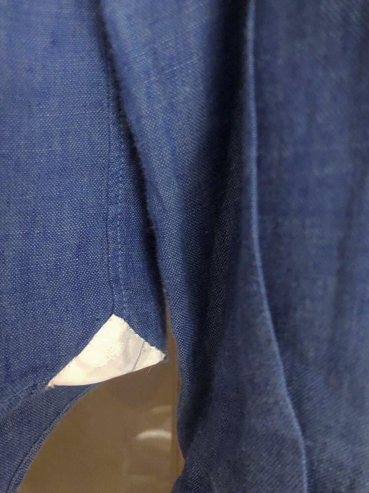 【美品】イタリー製 フィナモレ / finamore セルジオ カッタウエイカラー コットン インディゴ リネン ドレスシャツ 39 15 1/2 3.3万_画像7