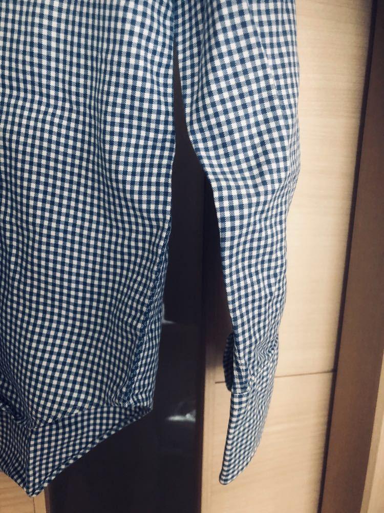 【美品】Maker's shirt 鎌倉シャツ サックス チェック ホリゾンタル カッタウェイカラードレスシャツ 39/87_画像7
