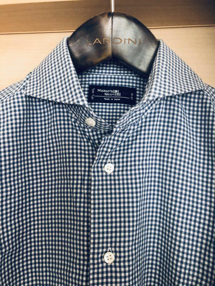 【美品】Maker's shirt 鎌倉シャツ サックス チェック ホリゾンタル カッタウェイカラードレスシャツ 39/87_画像2
