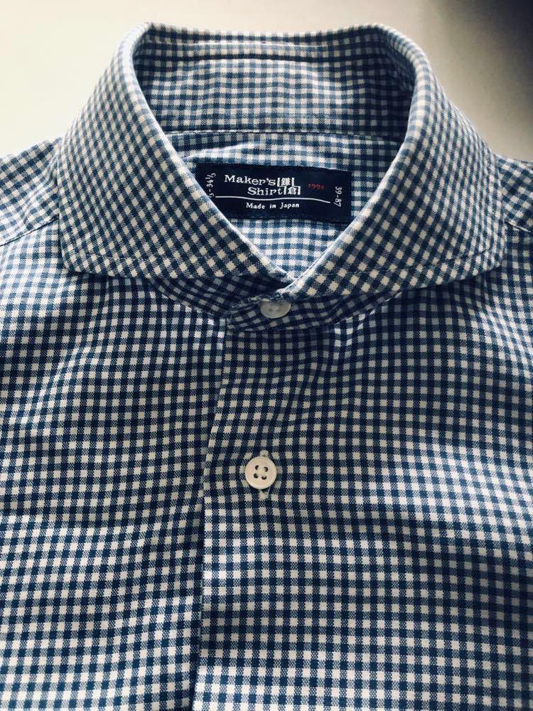 【美品】Maker's shirt 鎌倉シャツ サックス チェック ホリゾンタル カッタウェイカラードレスシャツ 39/87_画像3