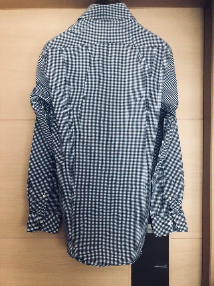 【美品】Maker's shirt 鎌倉シャツ サックス チェック ホリゾンタル カッタウェイカラードレスシャツ 39/87_画像6