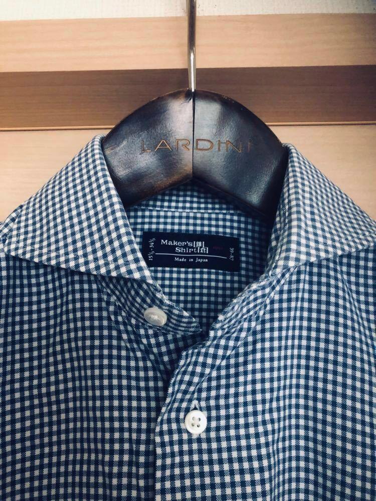 【美品】Maker's shirt 鎌倉シャツ サックス チェック ホリゾンタル カッタウェイカラードレスシャツ 39/87