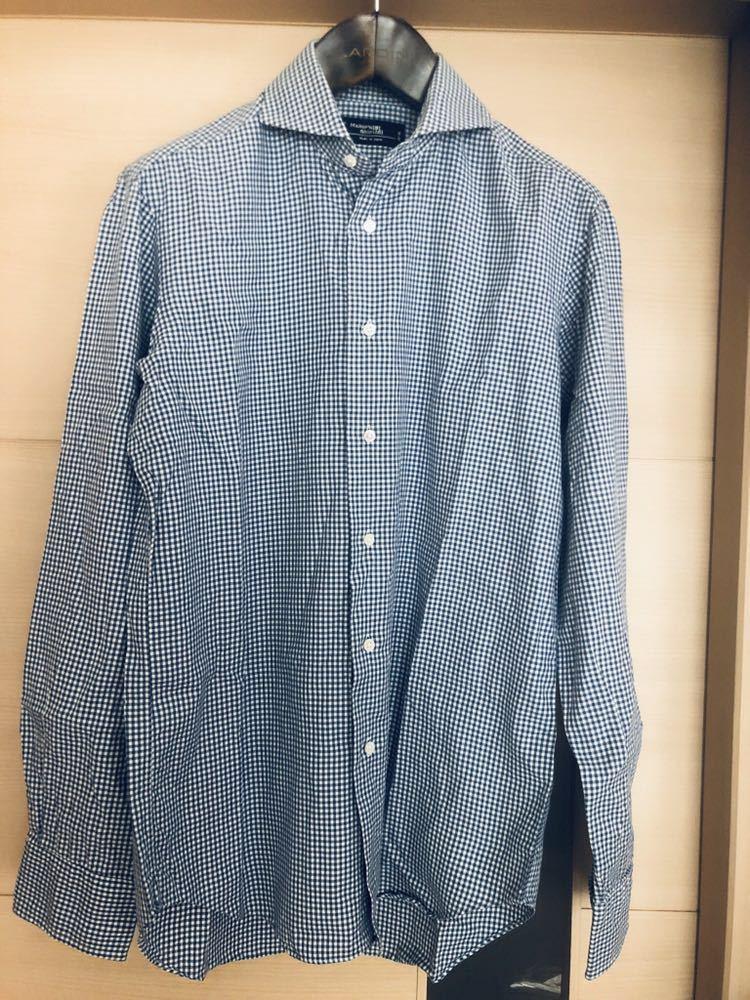 【美品】Maker's shirt 鎌倉シャツ サックス チェック ホリゾンタル カッタウェイカラードレスシャツ 39/87_画像5