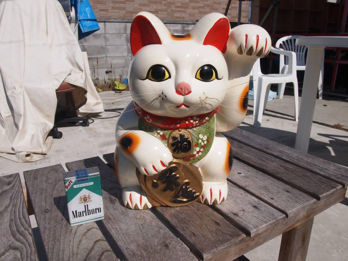 【天】昭和の懐かしい 大きくて古い招き猫 貯金箱 三毛猫 陶器 土人形 開運 縁起物 32㎝_画像6