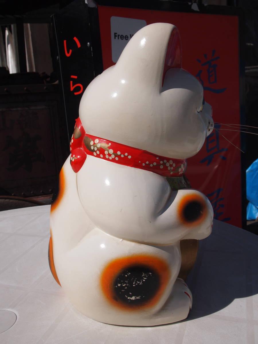 【天】昭和の懐かしい 大きくて古い招き猫 貯金箱 三毛猫 陶器 土人形 開運 縁起物 32㎝_画像5