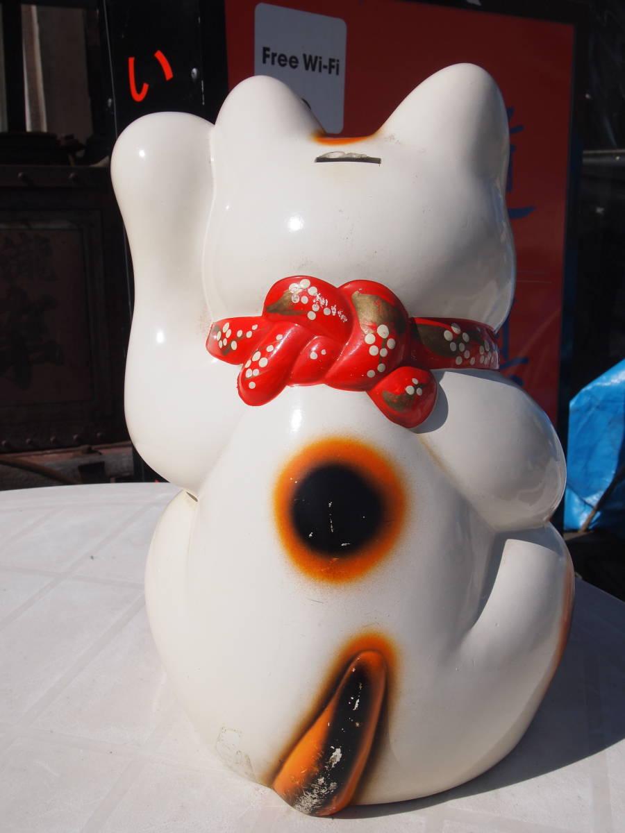【天】昭和の懐かしい 大きくて古い招き猫 貯金箱 三毛猫 陶器 土人形 開運 縁起物 32㎝_画像4
