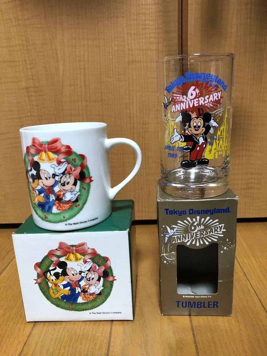 即決あり★希少未使用★1989年東京ディズニーランド 6周年記念グラス+おまけマグカップ★ミッキーマウス、ミッキーマウス、TDL★_画像1