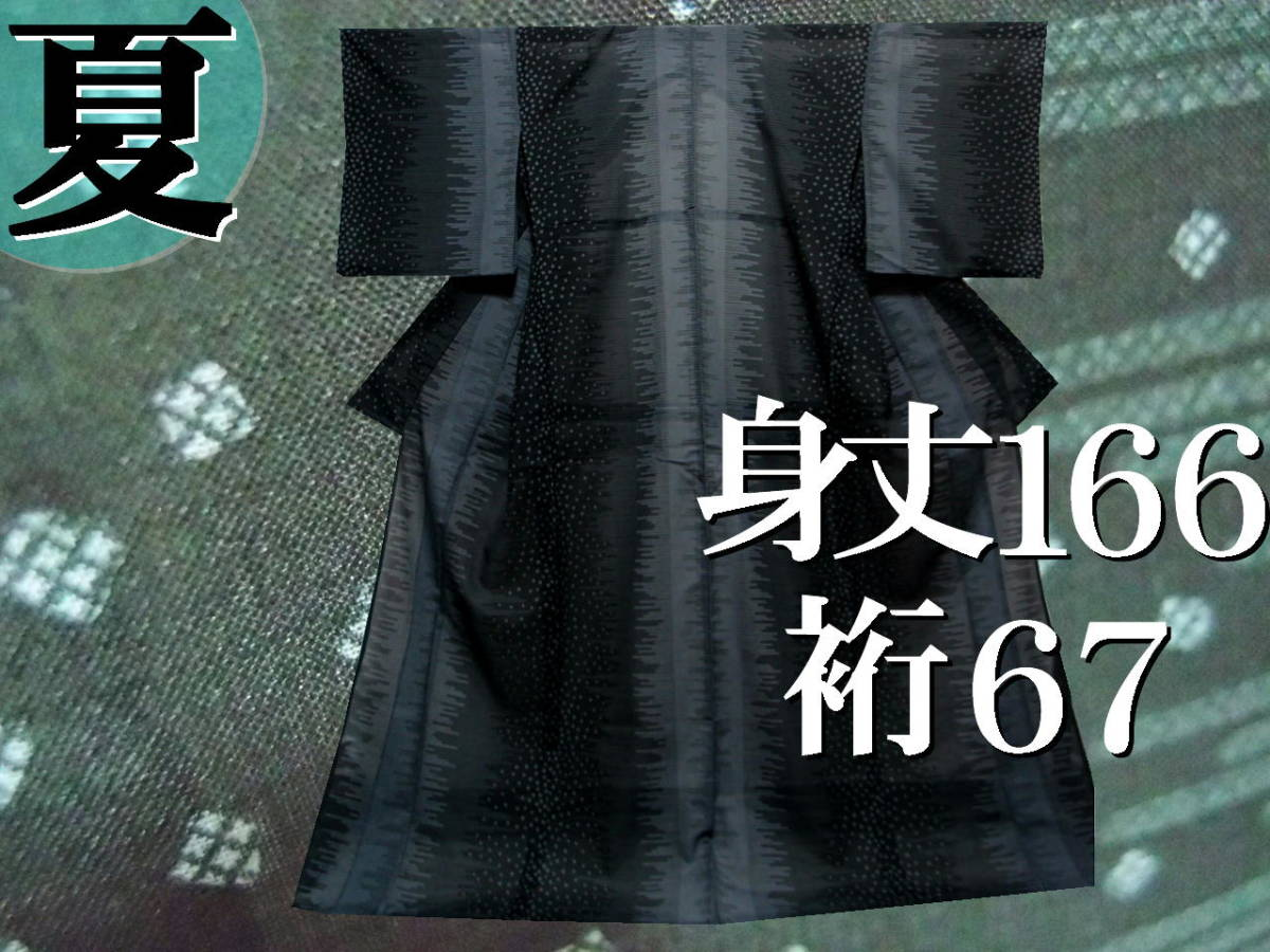 送料無料 夏 薄物 夏大島紬風 洗える着物 7月8月 身丈166cm裄67cm 美品 白黒モノトーン 絣 追加画像あり クリックポスト無料
