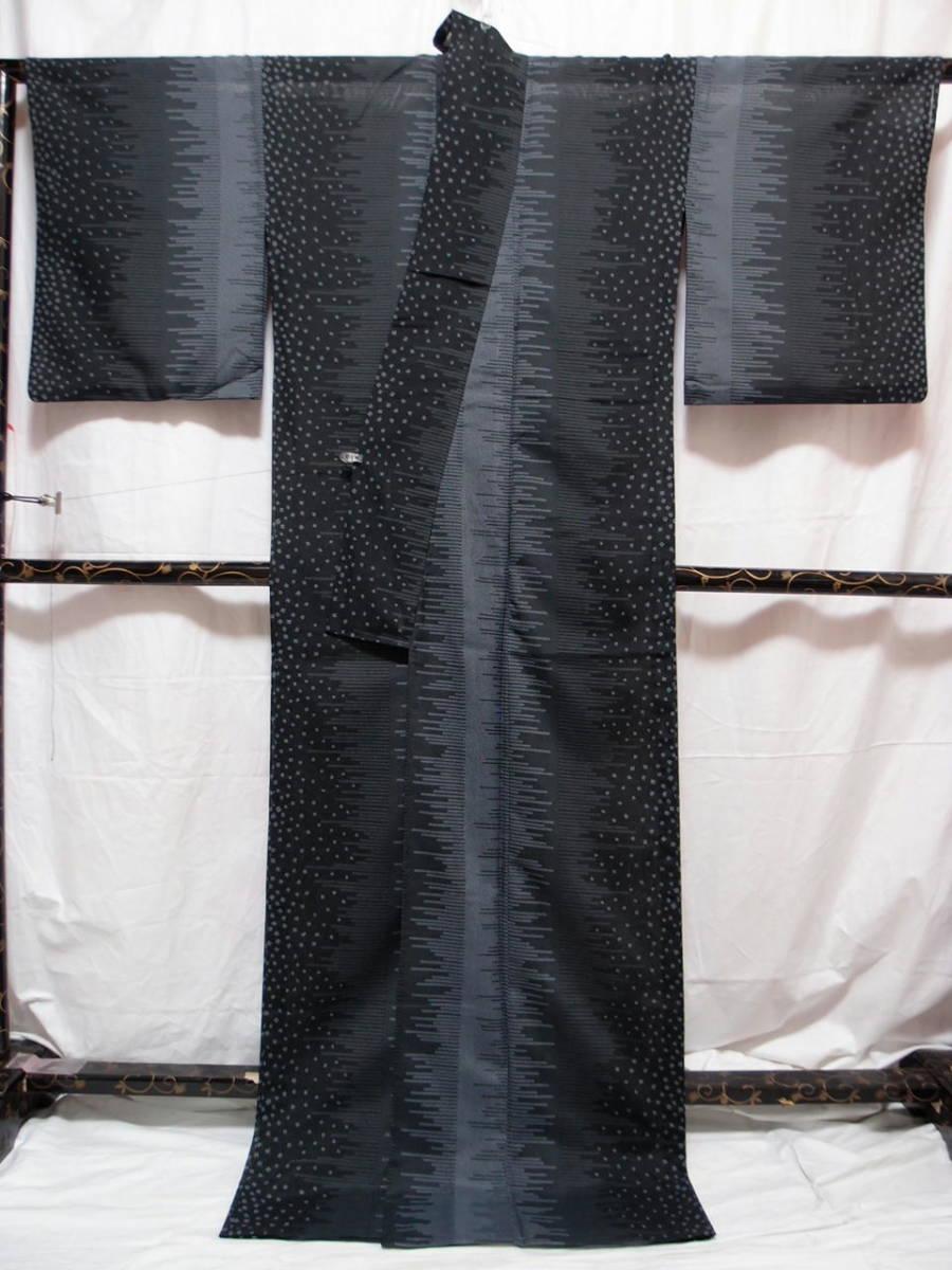 送料無料 夏 薄物 夏大島紬風 洗える着物 7月8月 身丈166cm裄67cm 美品 白黒モノトーン 絣 追加画像あり クリックポスト無料_画像9