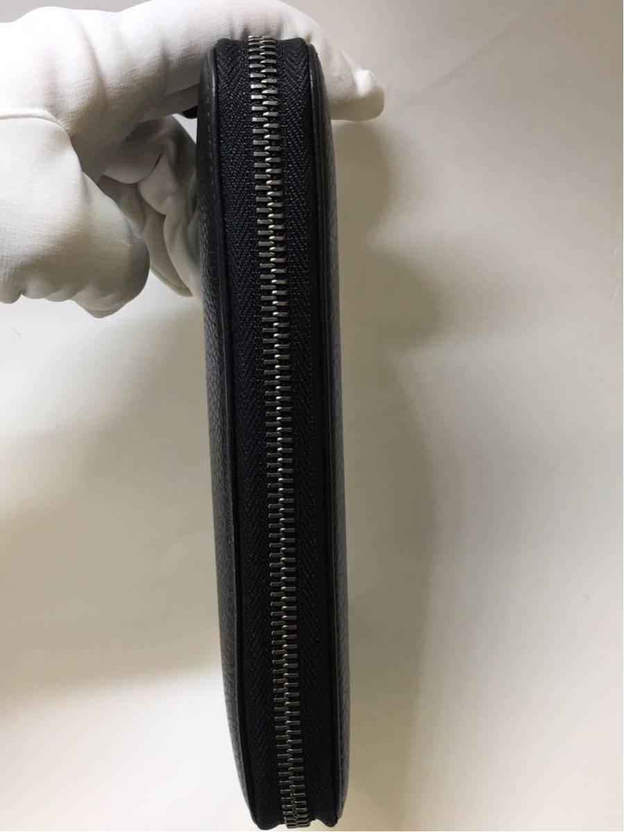 BVLGARI ブルガリ オクト グレイン カーフレザー ラウンドファスナー長財布 36968 ブラック メンズ B04_画像5