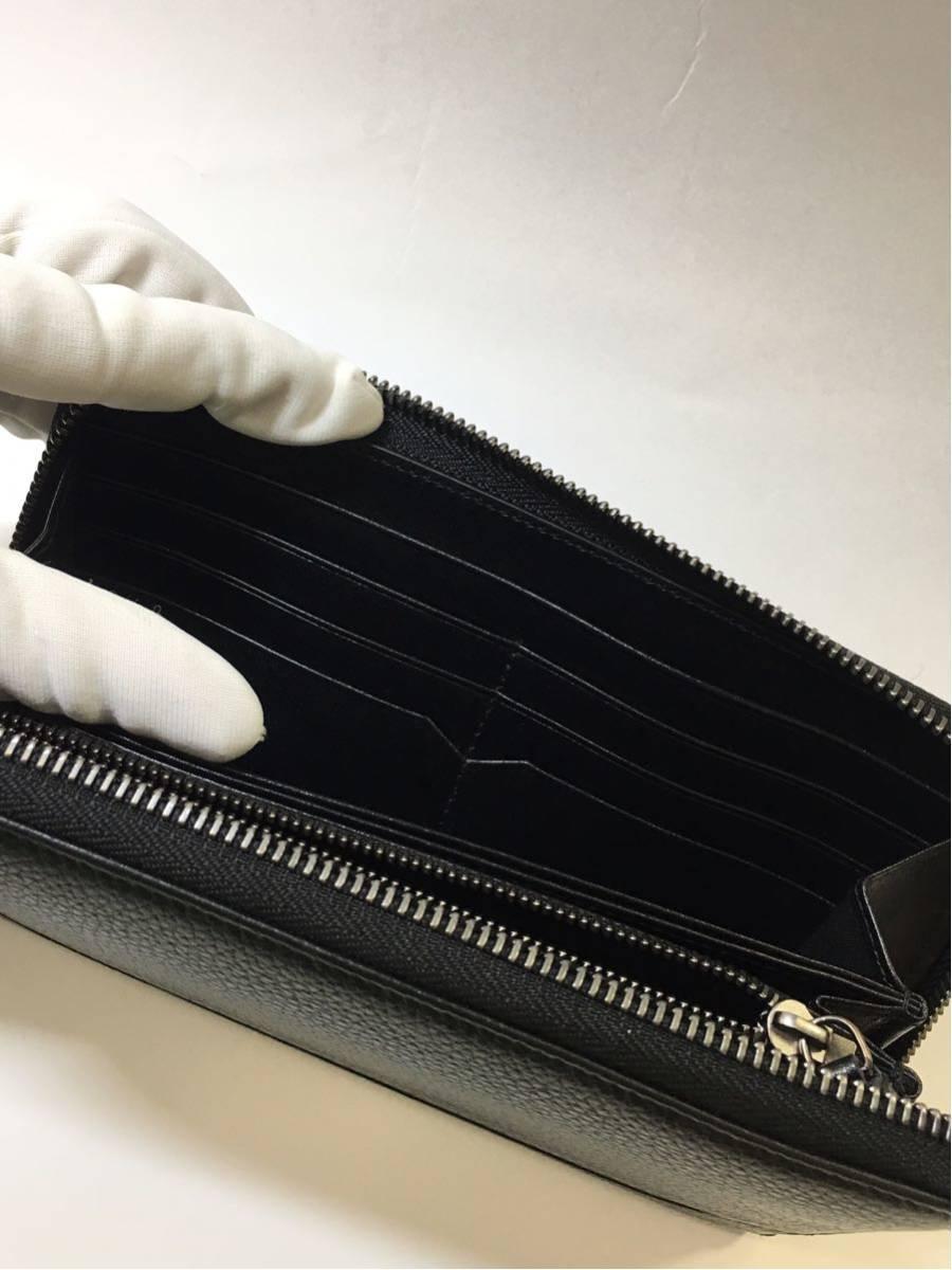 BVLGARI ブルガリ オクト グレイン カーフレザー ラウンドファスナー長財布 36968 ブラック メンズ B04_画像9