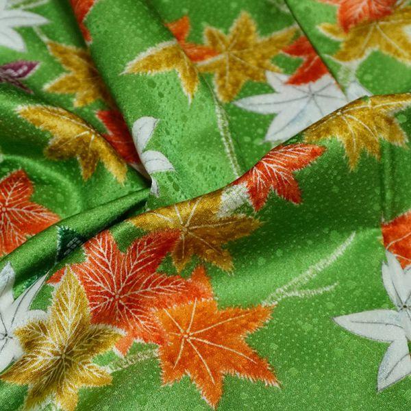 【着物のNext】 0947 L寸 鮮やかな紅葉文様 化繊 ポリ 洗える小紋 緑系 美品_画像4
