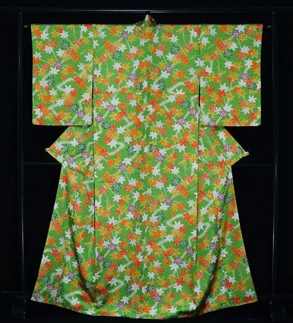 【着物のNext】 0947 L寸 鮮やかな紅葉文様 化繊 ポリ 洗える小紋 緑系 美品_画像1