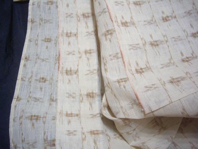*逸品涼しい麻単衣草木染め手括り絣未使用丈147裄61cm透いた織目*アカソ赤麻_画像5