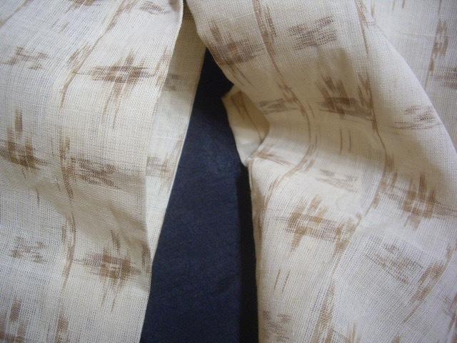 *逸品涼しい麻単衣草木染め手括り絣未使用丈147裄61cm透いた織目*アカソ赤麻_画像8