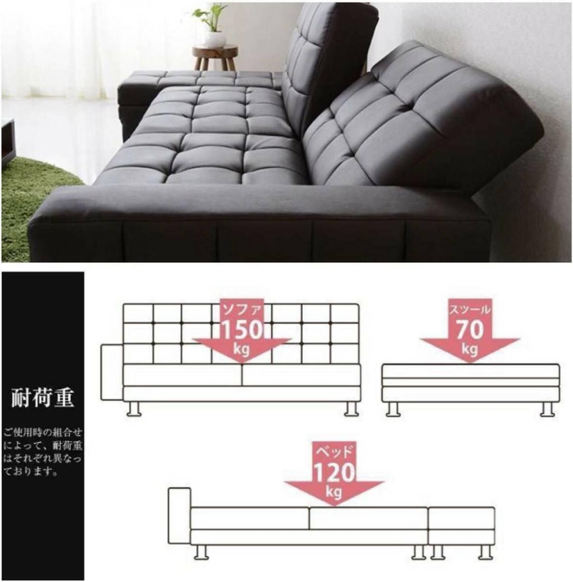 未使用 幅208㎝ 収納付(万能スツール)ソファベッド シングル 2人掛 HIGH&LOW SB001 PVCブラック_画像4