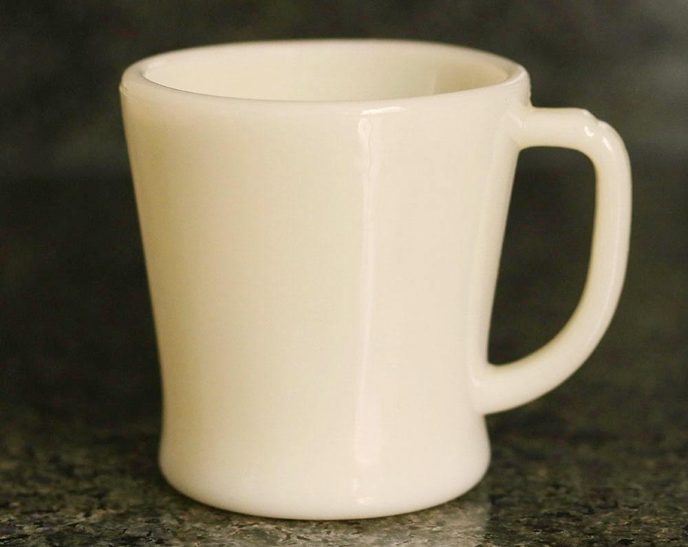 初期型! ファイヤーキング マグ アイボリー Dハンドル 1940年代 未使用! ミルクガラス コーヒー アメリカ製 ビンテージ アンティーク