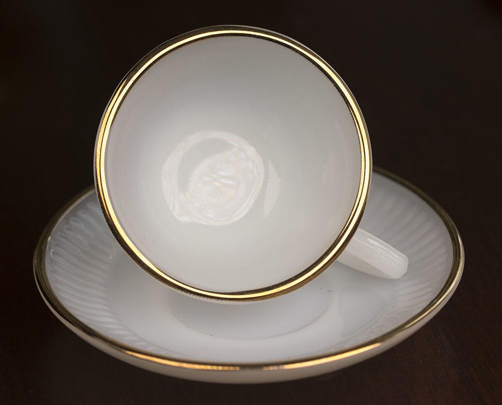 レア!ファイヤーキング ジェーンレイ ホワイト ゴールドリム デミタス カップ&ソーサー 1950年 耐熱 ミルクグラス コーヒー エスプレッソ_画像4