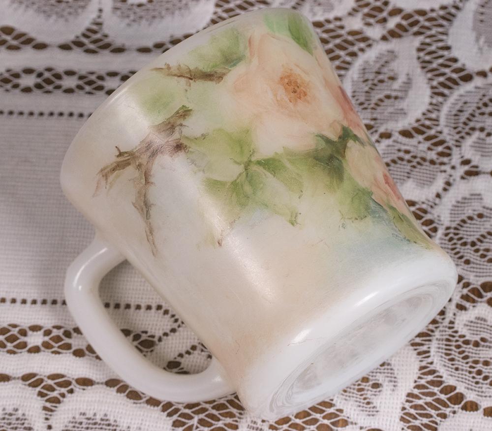 レア! ファイヤーキング マグ ハンドペイント フラワー 薔薇 Dハンドル 2個セット ミント! 耐熱 ミルクグラス コーヒー ビンテージ_画像8