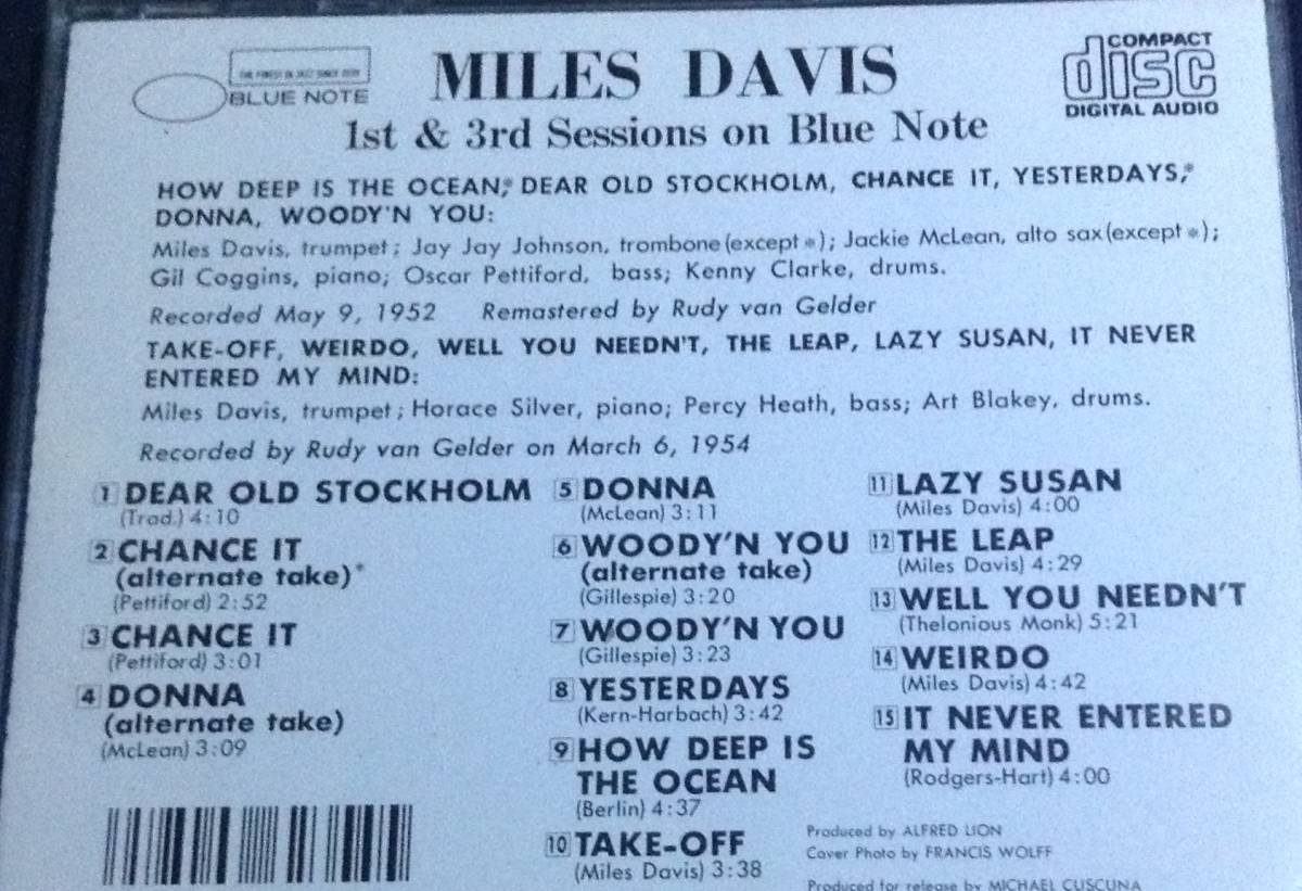 CD マイルス・デイビス MILES DAVIS/ Complete 1st&3rd Sessions On Blue Note CJ28-5056_画像3