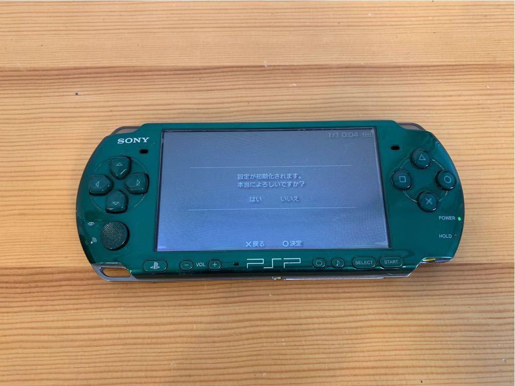 SONY/PSP 3000 本体/グリーン/通電確認 初期化済み/ソニー