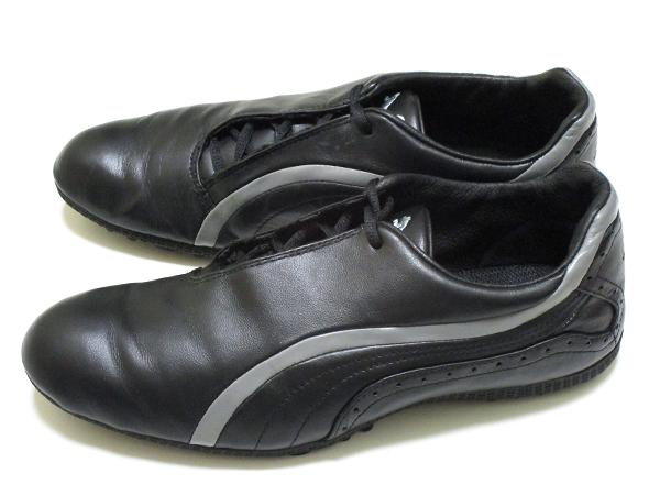 良好♪ プーマ ゴルフ PUMA GOLF 上質ブラック レザー シューズ 182267 保管袋付き ! スポーツ スパイク 靴_画像8