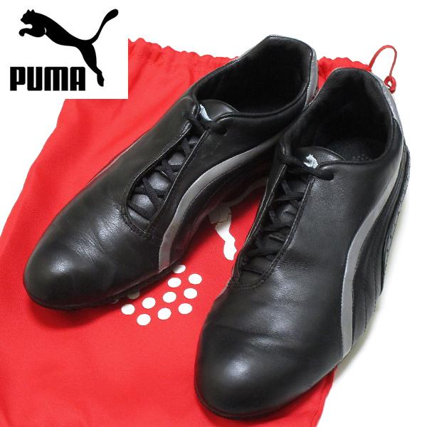 良好♪ プーマ ゴルフ PUMA GOLF 上質ブラック レザー シューズ 182267 保管袋付き ! スポーツ スパイク 靴