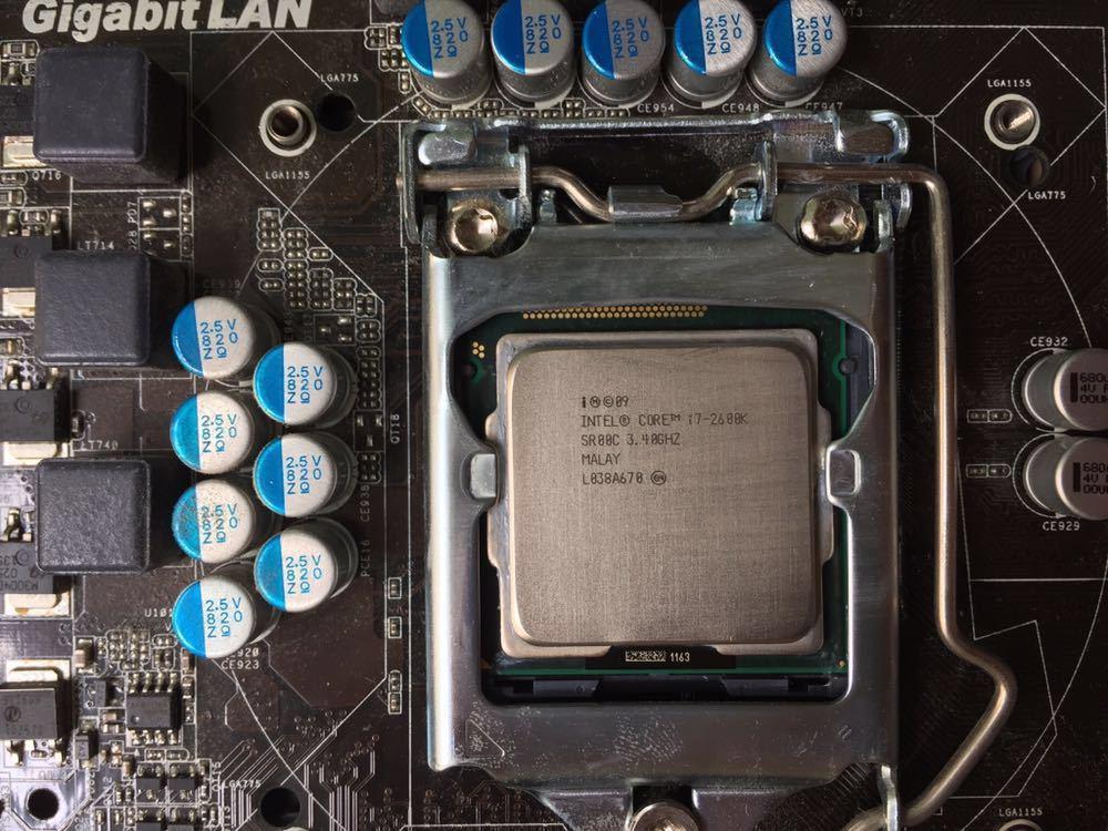 実動 CPU ケース メモリ8GB マザボ セット intel core i7 2600k MicroATX ASROCK H67M-GE/THW DVD SDスロット_画像2