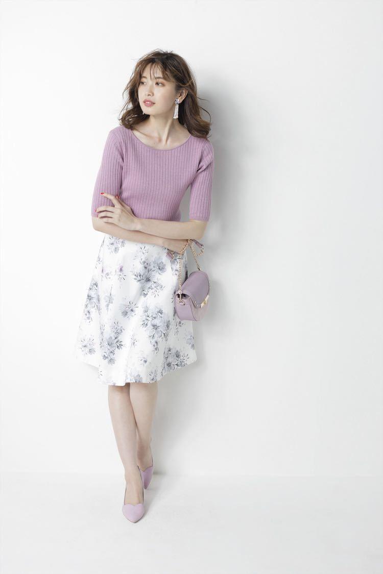 【新品タグ付き】アプワイザーリッシェカラーブレンドフラワースカート_画像3