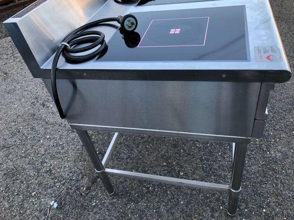 FUJIMAK フジマック 業務用 IHテーブル IHコンロ 熱調理器 FIC907510TB 2口 製造年不明 詳細不明 通電確認 加熱確認 現状品_画像7