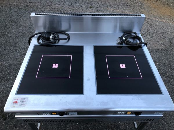 FUJIMAK フジマック 業務用 IHテーブル IHコンロ 熱調理器 FIC907510TB 2口 製造年不明 詳細不明 通電確認 加熱確認 現状品_画像2