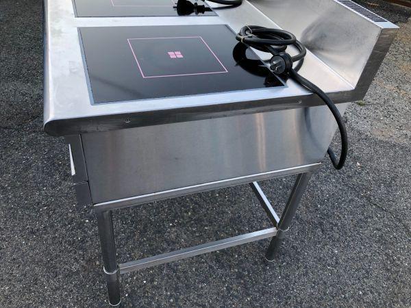 FUJIMAK フジマック 業務用 IHテーブル IHコンロ 熱調理器 FIC907510TB 2口 製造年不明 詳細不明 通電確認 加熱確認 現状品_画像8