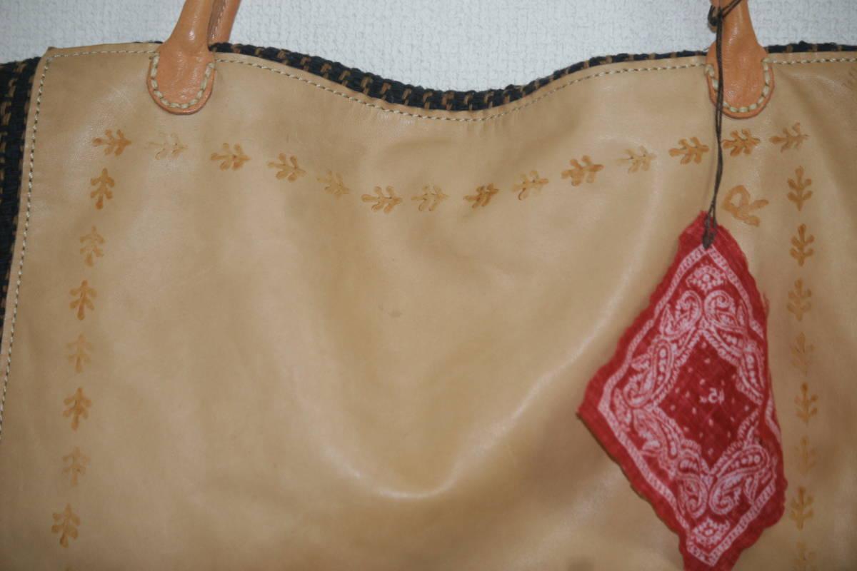 【未使用品】 45rpm 45r 馬革+編み物 巾着 トートバック_画像4