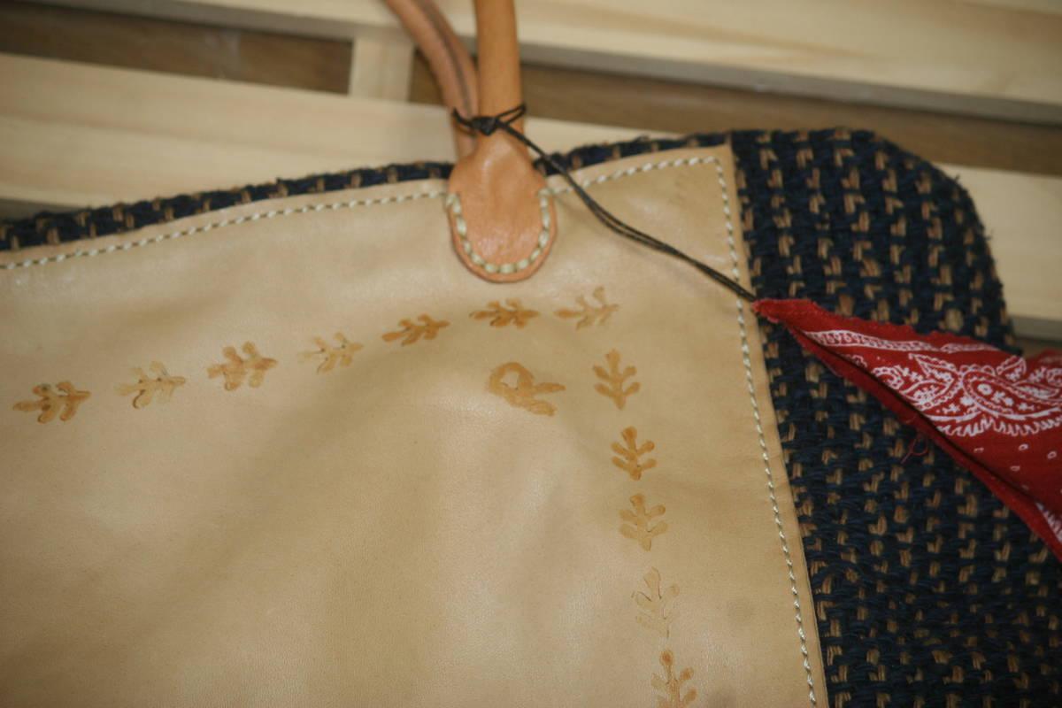 【未使用品】 45rpm 45r 馬革+編み物 巾着 トートバック_画像5