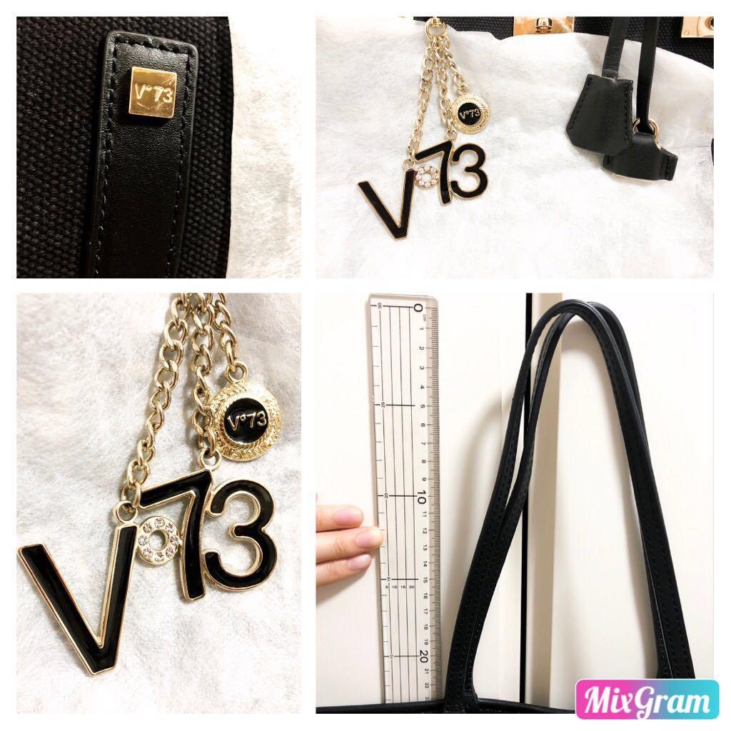 V73(ヴィセッタンタトレ) トートバッグ美品■ 黒×ベージュゴールド / キャンバス×レザー_画像8
