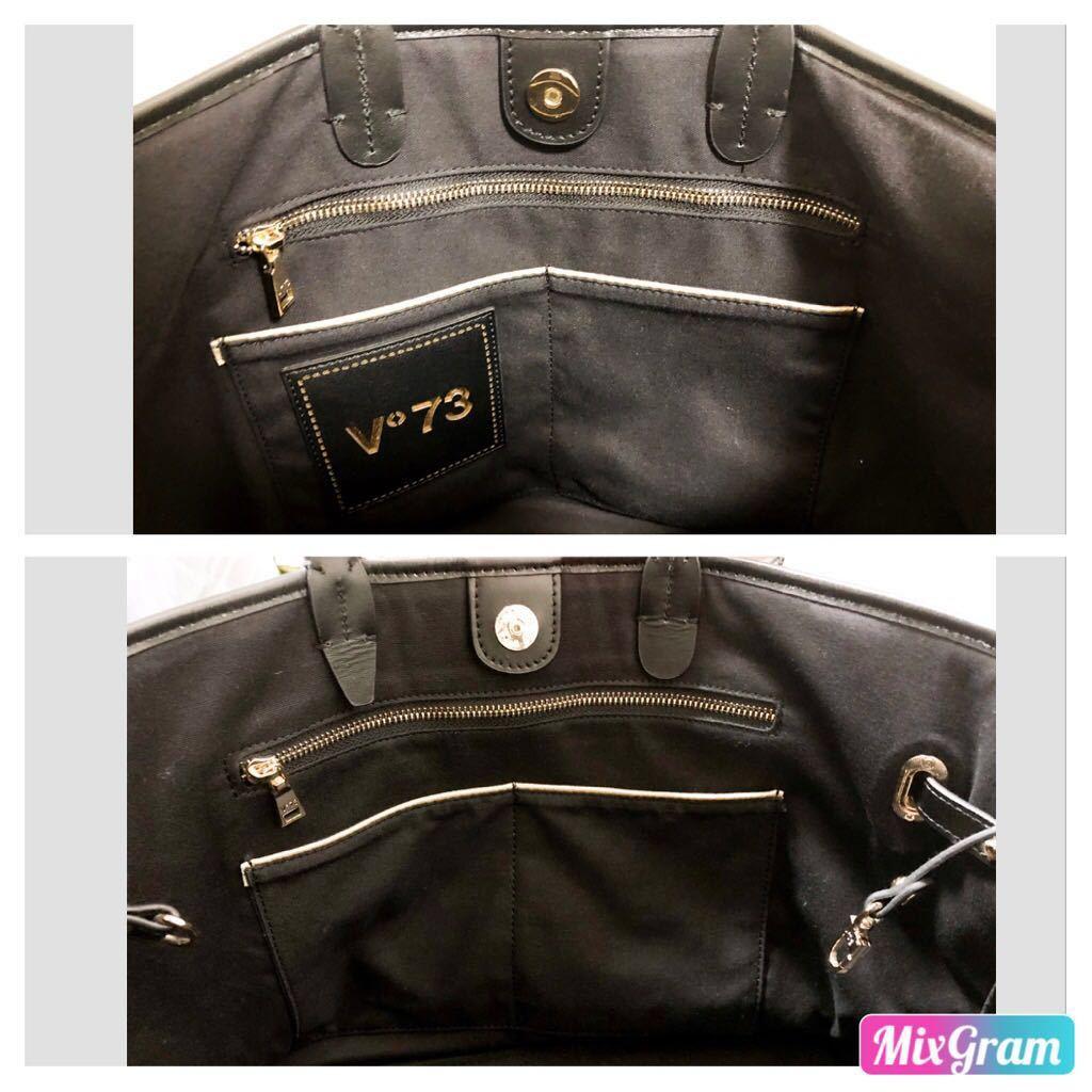 V73(ヴィセッタンタトレ) トートバッグ美品■ 黒×ベージュゴールド / キャンバス×レザー_画像7