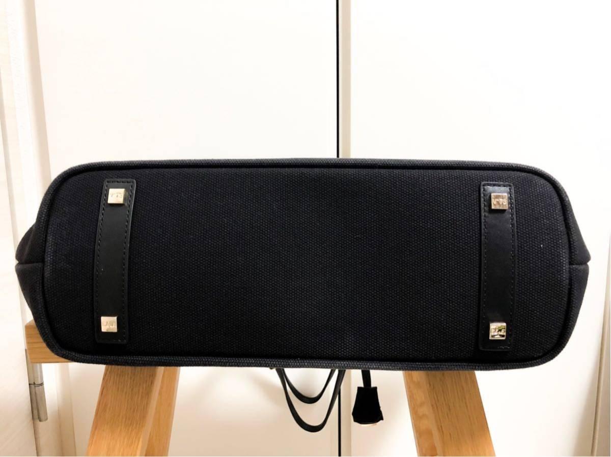 V73(ヴィセッタンタトレ) トートバッグ美品■ 黒×ベージュゴールド / キャンバス×レザー_画像6
