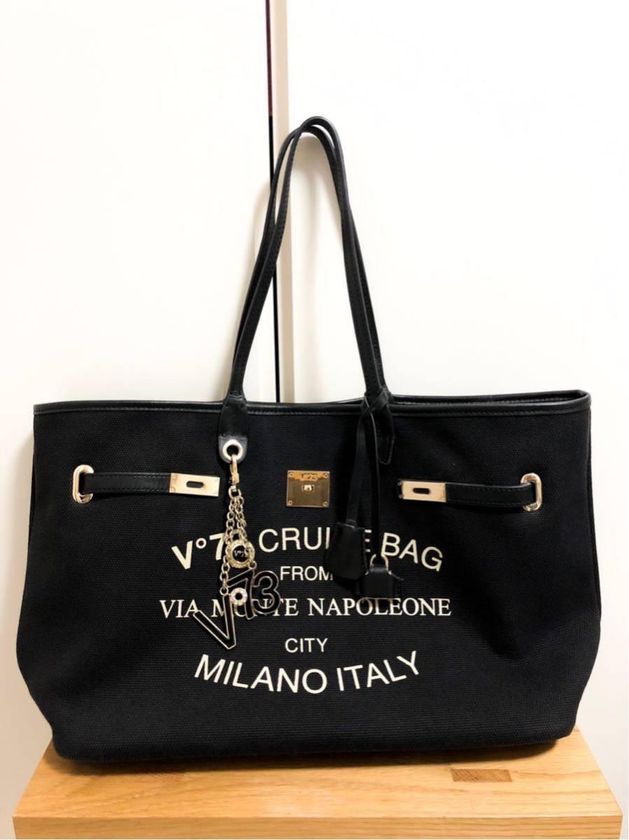 V73(ヴィセッタンタトレ) トートバッグ美品■ 黒×ベージュゴールド / キャンバス×レザー